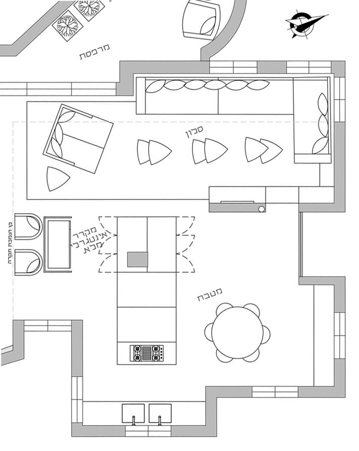 דירה כפולה בבת-ים - תוכנית מטבח